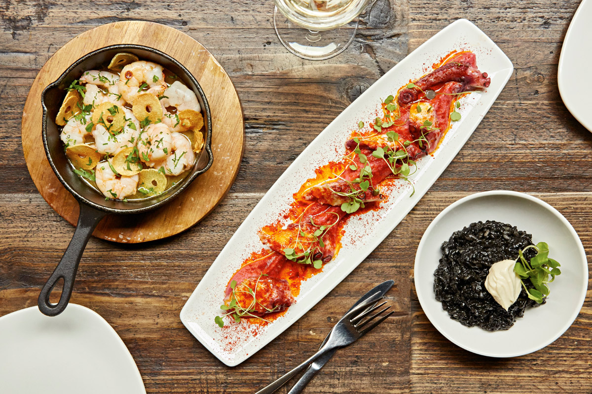 Sharing Spanish Tapas Meal with a Drink for Two at Camino, London