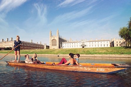 Chauffeured Cambridge Punting Tour and Three Course Meal with Sparkling Wine for Two at Café Rouge